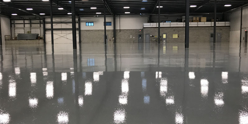 Epoxy warehouse flooring job in London, Ontario